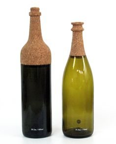 'bottle #600' and 'bottle #750' by israeli designer yuval tal is a family of two carafes designed  for israel-based studio ooga.  The iconic shape of a standard wine bottle is maintained, while a new division is made between  the vessel and the cork top. here, the cork becomes an integrated part of the bottle design  rather than just a simple tool for preserving your beverage.