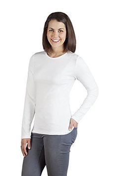 Damen Jersey Langarmshirt, M, Weiß, Weiß, M
