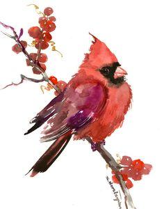 Cardinal Bird Artwork - original one of akind red chrismtas watercolor art, chrismtas cardinal painting 10 x 8 by ORIGINALONLY on Etsy