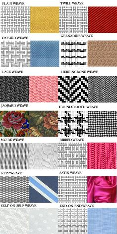 Weaving patterns PHOTO INFO Turnbull & Asser English fabric SALES WEB Shows Different popular weave types. Suggests that these weave types have an influence on possibles ways fabrics are woven. Tablet Weaving, Weaving Art, Tapestry Weaving, Loom Weaving, Hand Weaving, Weaving Textiles, Weaving Patterns, Fabric Patterns, Lace Weave
