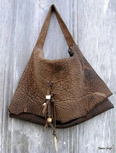 Rustic Steer Hide Leather Bag with Antler Beads by von stacyleigh