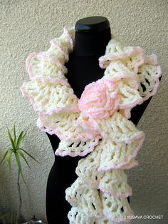 "Ravelry: Ruffle Scarf ""Winter Honeymoon"" Tutorial Pattern pattern by Lyubava Crochet"