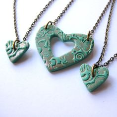 Mother and Two Daughters Necklaces in Teal and by jessicamarshall