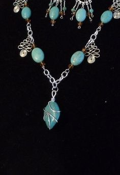 """Turquoise Blue Beads,25""""Long Statement Necklace Set,Turquoise Pendant,Glass Beads,Silver Drops,Chain,Earrings,Guardian Angel Dangle,NS1049NE by ckdesignsforyou. Explore more products on http://ckdesignsforyou.etsy.com"""