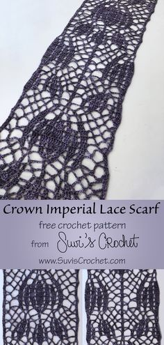Free crochet pattern with both written and charted instructions.  A lace scarf modeled after art deco tiles of the crown imperial flower.  This pattern is designed to be a 1-skein scarf. It is perfect for that nice skein of fancy yarn you received for Christmas but do not know a pattern that is worthy of it. The pattern repeat is 32 rows long with 2 optional ending rows so you can make a scarf of any length. Crochet Shawl Free, Crochet Scarves, Crochet Clothes, Knit Crochet, Pattern Art, Free Pattern, Art Deco Tiles, How To Make Scarf, Thing 1