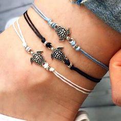 Black Cord Tree of Life Ankle Bracelet Adjustable Anklet Bead Silver Foot Charm