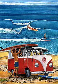 Showcase of surf art by Australian surf artist Garry Birdsall on Club Of The Waves