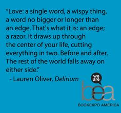 """Delirium"" by Lauren Oliver. Personally liked Before I Fall & Liesl and Po better but the sequel (Pandemonium) is excellent. Great quote"