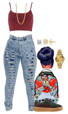 """Untitled #2068"" by basnightshine1015 ❤ liked on Polyvore featuring River Island, Sprayground, Puma, Marc by Marc Jacobs and Versus"