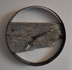Rustic barn wood wall clock. $68.00, via Etsy.