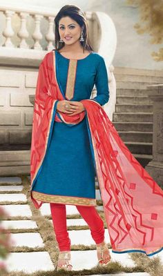 Style and design and pattern could be on peak of your magnificence when you attire this azure blue color shade cotton churidar suit. You could see some intriguing patterns accomplished with lace work. #BlueCottonChuridarSuit