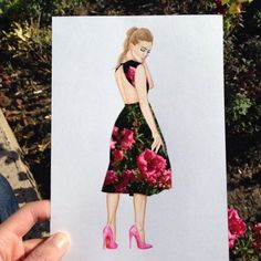 Armenian fashion illustrator Edgar Artis uses stylized paper cut outs and everyday objects to create beautiful dresses. His creative fashion sketches include such items as rose petals, various plants and food, even buildings. Arte Fashion, Fashion Design, Silhouette Mode, Kleidung Design, Moda Floral, Cut Out Art, Creation Art, Dress Drawing, Drawing Art