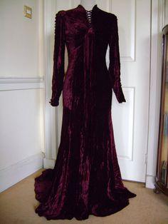 Amazing 20s/30s pre-Raphaelite-style plum velvet evening, £200.00, https://www.etsy.com/listing/83775605/amazing-20s30s-pre-raphaelite-style-plum