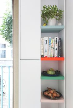 new wave kitchen. / sfgirlbybay shelves like this next to the fridge would be sup handy!