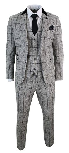 eac8021b4842 ... Mens Tweed Light Grey Black Check Herringbone Tweed Style Vintage Retro  3 Piece Suit - Grey, 38UK/US & 48EU-Jacket, 32-Pants: Amazon.co.uk: Clothing