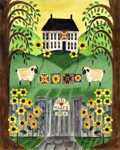 Country Folk Art Prints | SHEEP SUNFLOWER QUILT MAKER FOLK ART PRINT