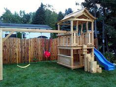 module de jeux Cabanes et Jeux Ludo - Cabanes et Jeux Ludo Ludo, Shed, Outdoor Structures, Park, White Cedar, Play Structures, Cabins, Parks