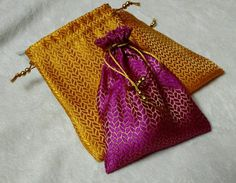 Mehndi Party Bags : Indian zari polti bags favor perfect gift bag for