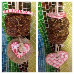 Peppermint ornaments and baked treats hanging stall toy . Valentines present for my man ❤️ #horsetreats