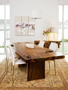The dining table is the must-have piece of furniture for every dining room and it can be found in so many different styles. The ones that will definitely steal the show are the wood slab