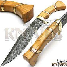 New Custom Handmade Damascus Steel Bushcraft Survivval Bowie Knife Wooden Handle