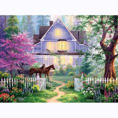 These puzzles featuring the art of Abraham Hunter are a treat to assemble. Colorful, bright and rich in detail, you will enjoy these puzzles. His art award winning art is the toast of the art world and the home decor market. A great puzzle to collect! Big Bear Lodge, Decor Market, Diamond Paint, Victorian Cottage, Winter Cabin, Z Arts, Arts Award, Art World, Home Art