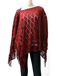 LL Short Open Knit Asymmetric Pullover Poncho Sweater Top Shawl Wrap with Fringe Brick Red Poncho Sweater, Knitted Poncho, Winter Sweaters, Sweaters For Women, Ladies Poncho, Maternity Wear, Wholesale Fashion, Sweater Fashion, Pullover