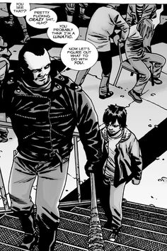Can't wait for Negan to show up on the TV show, probs the sickest cunt throughout the walking dead series Carl The Walking Dead, Walking Dead Comic Book, Walking Dead Comics, Amc Walking Dead, Twd Comics, Horror Comics, Negan And Carl, Comic Book Covers, Comic Books