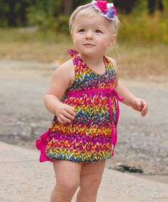 Loving this RuffleButts Watercolor Ikat Bubble Bodysuit - Infant on #zulily! #zulilyfinds