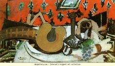 Georges Braque. Still-Life: Mandolin II. 1939-40. Oil on canvas. 20 x 36. Private collection.. Olga's Gallery.