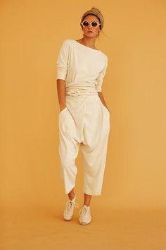 St. Remy Jumper | organic cotton & hemp jersey ivory infinite rope jumpsuit/pant | organic cotton & hemp jersey ivory infinite bandeau | Silk Burlap