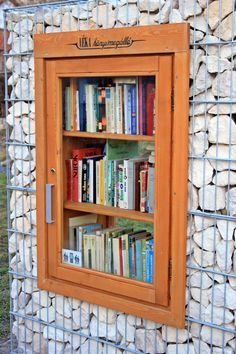 embedded gabion library | not that I would do this, but it's CUTE for a Little Library