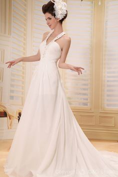 Chiffon Chapel White Train Floor-length A-line Halter Natural Elegant Ruched/Crystals/Flowers Zipper Sleeveless Wedding Dress