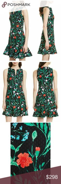 """NWT, Kate Spade Jardin Tile Jacquard Dress Look closely to see the tiny hummingbirds hidden on a flirty fit-and-flare frock covered with flowers in full bloom. A playful gathered ruffle circles the hem, showcasing sun-kissed legs. Perfect dress for Spring and Summer! 37 1/2"""" length (size 8) Hidden back-zip closure Split neck Sleeveless Lined 97% cotton, 3% spandex Dry clean Imported BNWTA! kate spade Dresses"""