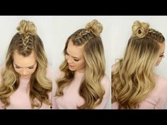 Mohawk Braid Top Knot - section off the top center part of your hair and put into a Dutch braid. Once you reach the crown of your head, use a clear hairband or rubberband to tie it off.