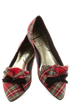 Footware & play modcloth $50. Tartan Bow Flats - doesn't everyone need a pair of these at Christmas time?
