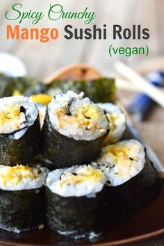Spicy Crunchy Mango Sushi Rolls - save money and fuel your sushi addiction at home with these healthy vegan sushi rolls