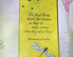 Dragonfly Bookmark, Gift Card Holder, Tag with Bright Colors and Abraham Lincoln Quote - Edit Listing - Etsy