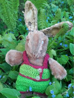 My brother's bunny in a doll suit I crocheted in the 60's