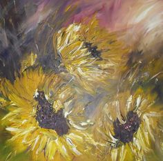 As The Sun Goes Down - Sunflower Painting - Folksy