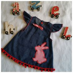 Great babygirl dress for summer, but also super cute with panties and a longsleeve when it's colder. It is made from supersoft dark denim and striped stretch cotton fabric and can be ordered in three sizes: 3 to 6 month, 6 to 9 month and 9 to 12 month. Please allow 10 days delivery time.