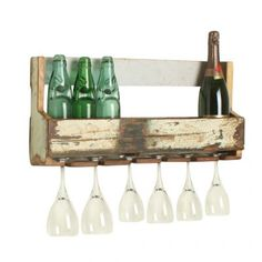 Wall Hanging Wine Rack Made From Reclaimed Wood