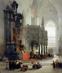 David Roberts (1796-1864) - Shrine of Saint Gomar at Lierre, Belgium, 1849