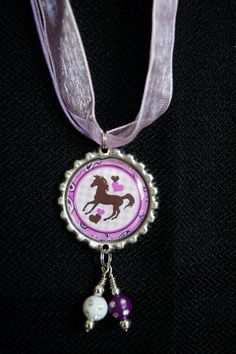 Purple Horse Bottle Cap Necklace by KokomoCutieDesigns on Etsy, $8.50