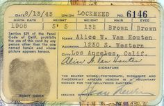 The back view of a Hollywood Canteen identification card (1943)