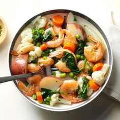 Shrimp & Vegetable Boil Recipe -When my children were small, they liked picking out the ingredients for making this supper. When there's no shrimp on hand, we use crab or chicken. —Joyce Guth, Mohnton, PA