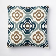 This would be perfect on my couch. (I have a dark chocolate sectional.) Floral Ikat Pillow Cover - Blue Lagoon #WestElm