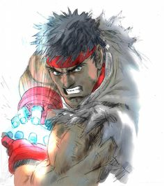 Ryu (from street fighter). Actually unknown author. Street Fighter Tekken, Street Fighter Game, Street Fighter Characters, Game Character, Character Design, Comic Movies, Fighting Games, Manga Drawing, Akira