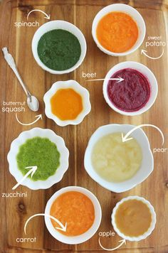 8 Easy Homemade Baby Purées: First Foods http://www.thecomfortofcooking.com/2014/12/8-easy-homemade-baby-purees-first-foods.html