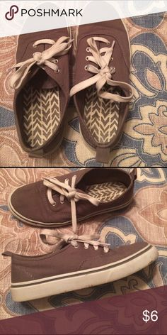 Tan ked- like shoes Tan lace up tennis shoes- tan and white Faded Glory Shoes Sneakers